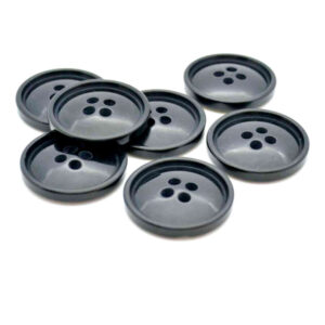 Black domed rim buttons