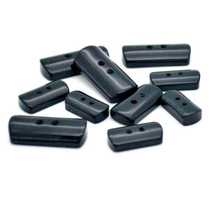 black Domed rectangle buttons